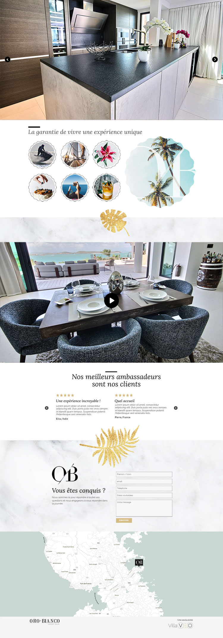 Site Internet de la Villa Oro Bianco
